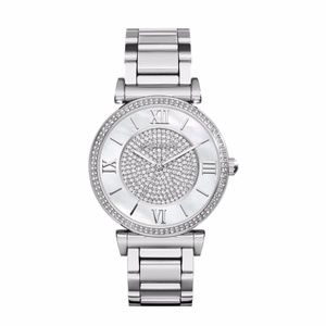 Silver Caitlin Crystal Pave Dial Watch Mk3355